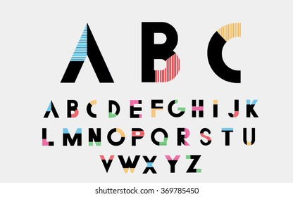Color alphabetic font. Vector eps10 illustrator.