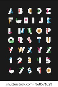 Color alphabetic fonts and numbers. Vector eps10 illustrator.