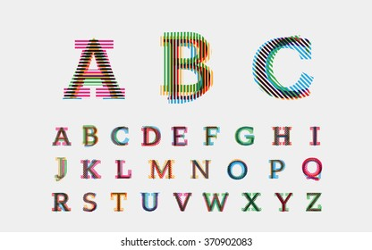 Color alphabetic fonts. Vector eps10 illustrator.