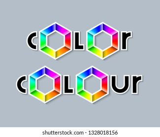 Color (American English) and colour (British English) lettering with colorful radial gradient hexagonal symbols made of rainbow spectral colors on grey background