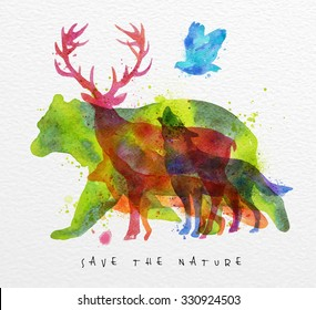 Color animals ,bear, deer, wolf, fox,  bird, drawing overprint on paper background lettering save the nature