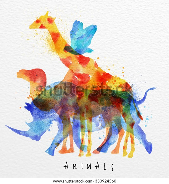 Color animals ,bird, rhino, giraffe, camel, drawing overprint on paper background