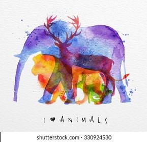 Color animals ,elephant, deer, lion, rabbit, drawing overprint on paper background