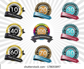 Color anniversary sign collection, retro design, vector