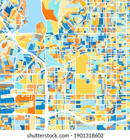 Color art map of  Inglewood, California, UnitedStates in blues and oranges. The color gradations in Inglewood   map follow a random pattern.