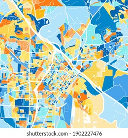 Color art map of  Macon, Georgia, UnitedStates in blues and oranges. The color gradations in Macon   map follow a random pattern.
