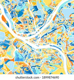 Color art map of  Pittsburgh, Pennsylvania, UnitedStates in blues and oranges. The color gradations in Pittsburgh   map follow a random pattern.