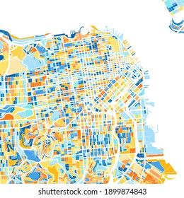 Color art map of  SanFrancisco, California, UnitedStates in blues and oranges. The color gradations in SanFrancisco   map follow a random pattern.