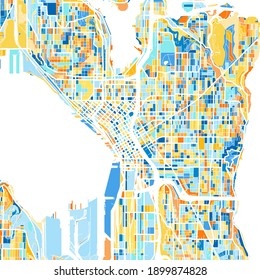 Color art map of  Seattle, Washington, UnitedStates in blues and oranges. The color gradations in Seattle   map follow a random pattern.