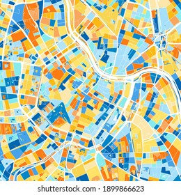 Color art map of  Vienna, Vienna, Austria iin blues and oranges. The color gradations in Vienna   map follow a random pattern.