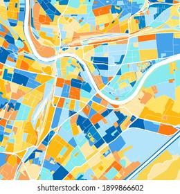 Color art map of  Villach, Carinthia, Austria iin blues and oranges. The color gradations in Villach   map follow a random pattern.