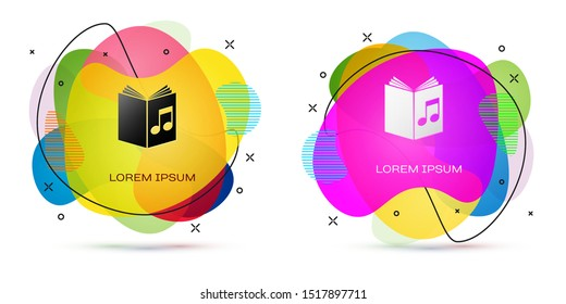 Color Audio book icon isolated on white background. Musical note with book. Audio guide sign. Online learning concept. Abstract banner with liquid shapes. Vector Illustration