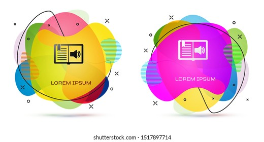 Color Audio book icon isolated on white background. Audio guide sign. Online learning concept. Abstract banner with liquid shapes. Vector Illustration