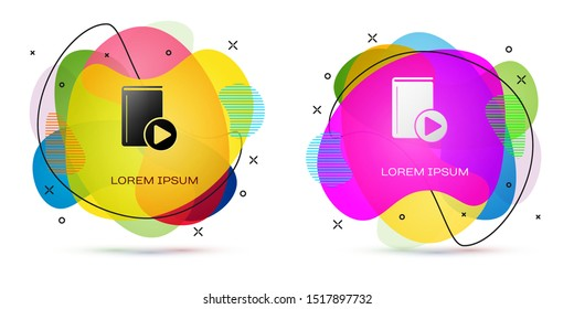 Color Audio book icon isolated on white background. Play button and book. Audio guide sign. Online learning concept. Abstract banner with liquid shapes. Vector Illustration