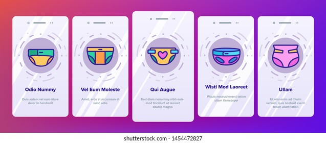 Color Baby Absorbent Diapers Vector Onboarding Mobile App Page Screen. Newborn Diaper, Disposable Nappies Outline Symbols Pack. Childcare, Infant Necessities. Children Hygiene Product Illustrations
