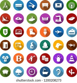 Color back flat icon set - duck vector, farm, manger, dispatcher, plane radar, antenna, passport, border cone, ear, bitcoin sign, down graph, lock chain, bath, cleaning agent, seedling, bucket, boot