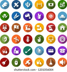 Color back flat icon set - fence vector, baggage conveyor, baby room, plane globe, airport building, hair dye, phone, bitcoin column, bucket and broom, clothespin, house hold, seedling, glove, route