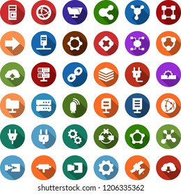 Color back flat icon set - blockchain molecule vector, cube, power plug, satellite, connect, connection, server, disconnection, network folder, big data, usb modem, share, chain, document, gear