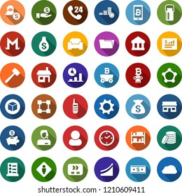 Color back flat icon set - milk can vector, male, waiting area, list of services, mining, growth graph, bitcoin phone, storefront, blockchain molecule, cube, presentation, column, lawn mower, house