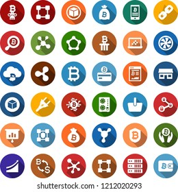 Color back flat icon set - bitcoin sign vector, ripple, mining farm, equipment, growth graph, exchange, card, site, palm, bag, search, cloud, chip, shield, phone, storefront, basket, molecule, chain