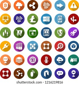 Color back flat icon set - globe vector, ripple sign, litecoin, iota, neo, mining farm, japanese chart, bitcoin site, search, shield, phone, cart, blockchain, cube, power plug, column, rocket, arrow