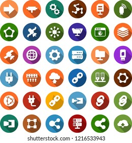 Color back flat icon set - blockchain molecule vector, chain, cube, power plug, satellite, connect, connection, network, server, folder, big data, browser, hub, usb modem, share, cloud upload, gear