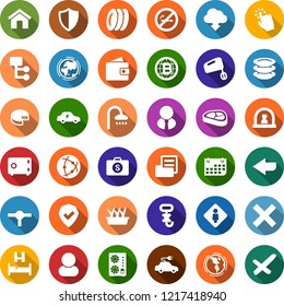 Color back flat icon set - steak vector, cheese, no smoking, female, reception, bed, shower, wallet, mining equipment, bitcoin globe, plates, seedling, earth, electric car, term, folder document