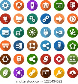Color back flat icon set - wireless notebook vector, blockchain molecule, chain, cube, power plug, network, server, folder, big data, browser, hub, usb modem, share, connection, document, gear