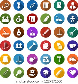 Color back flat icon set - baby vector, disabled, medical room, comb, depilation, mirror, nail polish, razor, hair trimmer, wave of, tweezers, towel, rake, water tap, house hold, watering can, bird
