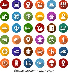 Color back flat icon set - airport tower vector, runway, suitcase, departure, baggage conveyor, bus, train, signpost, passport, globe, ladder car, boarding, helicopter, seat map, luggage storage