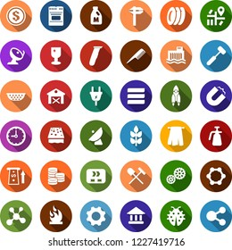 Color back flat icon set - spike vector, barn, milk, shovel and rake, comb, electric razor, towel, rocket, blockchain molecule, sponge, plates, shining window, fence, lawn mower, rain, lady bug, atm