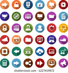 Color back flat icon set - no laptop vector, bomb in case, wireless notebook, right arrow, lock, mining farm, bitcoin cloud, blocks, trash bin, cpu, support, account statistics, calculator, server