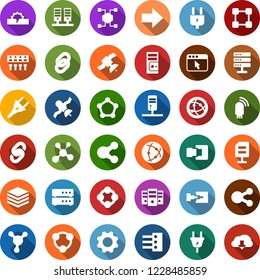Color back flat icon set - blockchain molecule vector, chain, cube, power plug, satellite, connection, server, network, big data, browser, hub, usb modem, share, document, disconnection, gear