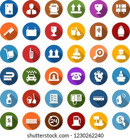 Color back flat icon set - taxi vector, airport bus, 24 around, phone alarm, reception, list of services, bucket and broom, fetlock, window cleaning, iron, steaming, agent, shining, gas station
