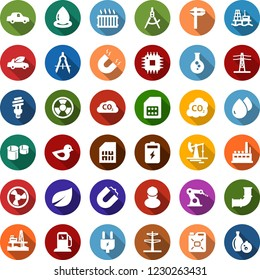 Color back flat icon set - offshore oil platform vector, fan, battery, jack, leaf, gas station, flask, pipeline, power line pillar, plug, factory, workman, canister, bird, water drop, bulb, nuclear