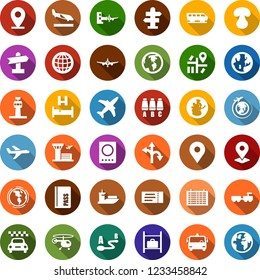 Color back flat icon set - plane vector, airport tower, taxi, arrival, bus, train, signpost, ticket, passport, bed, baggage larry, boarding, helicopter, seat map, flight table, luggage storage, pin