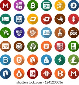 Color back flat icon set - bitcoin sign vector, etherium, litecoin, dash, iota, monero, storm, neo, mining farm, equipment, card, site, palm, bag, globe, chip, shield, safe, wheelbarrow, column