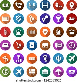 Color back flat icon set - plane vector, baggage trolley, route, earth, pin, railroad, store, office phone, 24 hours, mobile tracking, sea shipping, cargo container, clock, port, consolidated, no
