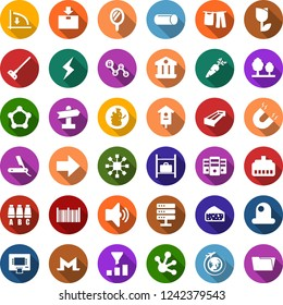 Color back flat icon set - manger vector, carrot, cheese, seat map, luggage storage, plane globe, mirror, razor, monero sign, storm, down graph, blockchain molecule, cube, lock chain, drying clothes