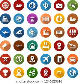 Color back flat icon set - plane vector, runway, suitcase, arrival, baggage trolley, airport bus, ticket, passport, bed, ladder car, helicopter, seat map, flight table, globe, building, picnic, pin