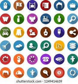 Color back flat icon set - ham vector, ribs, scarecrow, taxi, clouds, luggage storage, airport building, nail polish, phone, sprayer, towel, man hair, down graph, plates, flower in pot, rake, flag