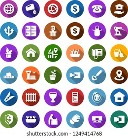 Color back flat icon set - fence vector, baggage conveyor, baby room, plane globe, airport building, checkroom, phone, bitcoin column, bucket and broom, clothespin, house hold, seedling, glove, home