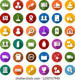 Color back flat icon set - 24 around vector, reception bell, phone, list of services, bucket and broom, fetlock, mop, car, window cleaning, iron, agent, shining, gas station, battery, workman