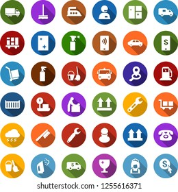 Color back flat icon set - airport bus vector, baby room, phone, sprayer, bucket and broom, fetlock, mop, window cleaning, iron, steaming, shining, cleaner woman, gas station, workman, wrench, click