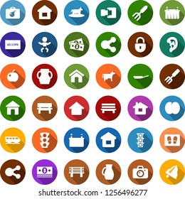 Color back flat icon set - cow vector, plum, train, bomb in case, baby, camera, ear, welcome mat, garden fork, bench, battery, cash, traffic light, share, home, connection, lock, bell