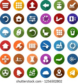 Color back flat icon set - elevator vector, escalator, lock chain, bucket, toilet, fence, caterpillar, factory, nuclear, laser, navigation, satellite, cloud network, menu, arrow, undo, loading, user