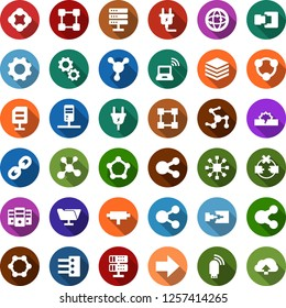 Color back flat icon set - wireless notebook vector, blockchain molecule, cube, power plug, connect, connection, network, server, disconnection, folder, big data, hub, usb modem, share, chain, gear