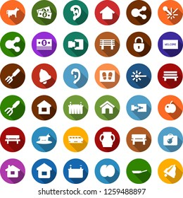Color back flat icon set - cow vector, plum, train, bomb in case, ear, welcome mat, garden fork, bench, battery, laser, cash, share, home, connection, lock, bell