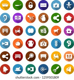 Color back flat icon set - cow vector, plum, tractor, train, bomb in case, baby, camera, ear, welcome mat, garden fork, bench, laser, cash, traffic light, share, connection, home, lock, bell