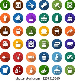 Color back flat icon set - bucket vector, washer, scraper, broom, vacuum cleaner, fetlock, mop, sponge, car, scoop, steaming, washing powder, cleaning agent, rubber glove